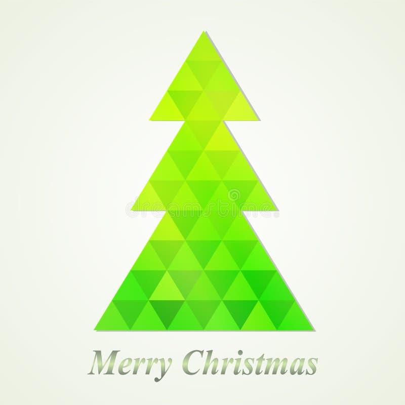Frohe Weihnacht-Gruß-Karte mit grünem abstraktem Weihnachtsbaum stock abbildung