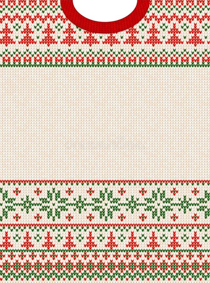 Frohe Weihnacht-guten Rutsch ins Neue Jahr-Gruß-Kartenrahmen-Skandinavierverzierungen vektor abbildung