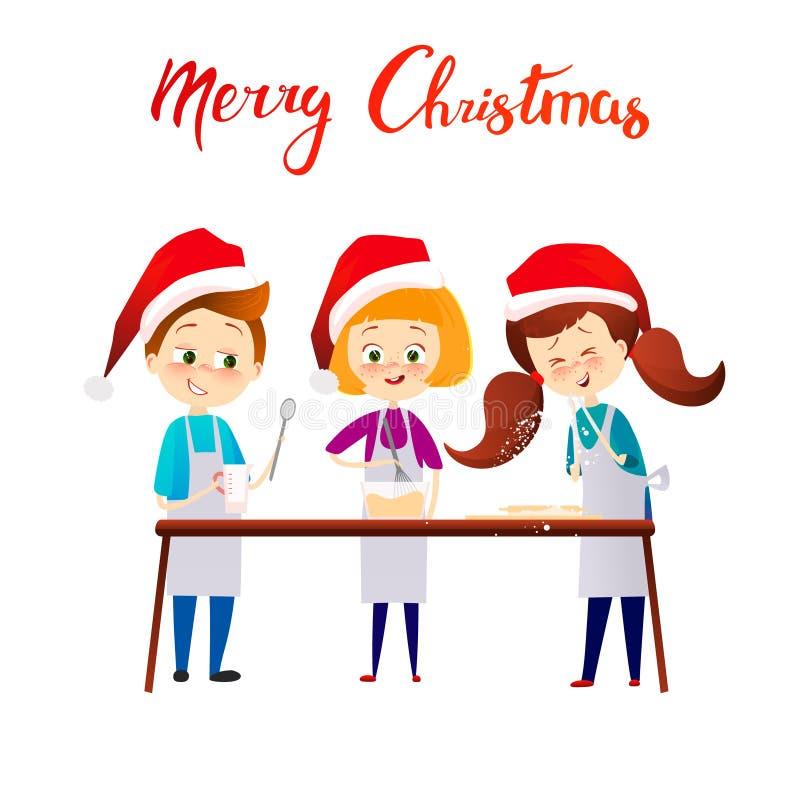 Frohe Weihnacht-guten Rutsch ins Neue Jahr-Kinder, die Weihnachtsabendessen kochen Dieses ist Datei des Formats EPS8 Nette childs vektor abbildung