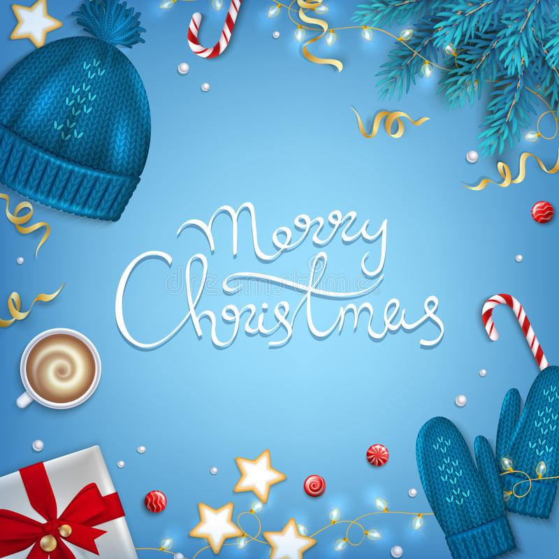 Frohe Weihnacht-Hand gezeichnet, Gruß-Hintergrund beschriftend Winter-Elementtannenzweige, gestrickter blauer Hut, Handschuhe, Ka vektor abbildung
