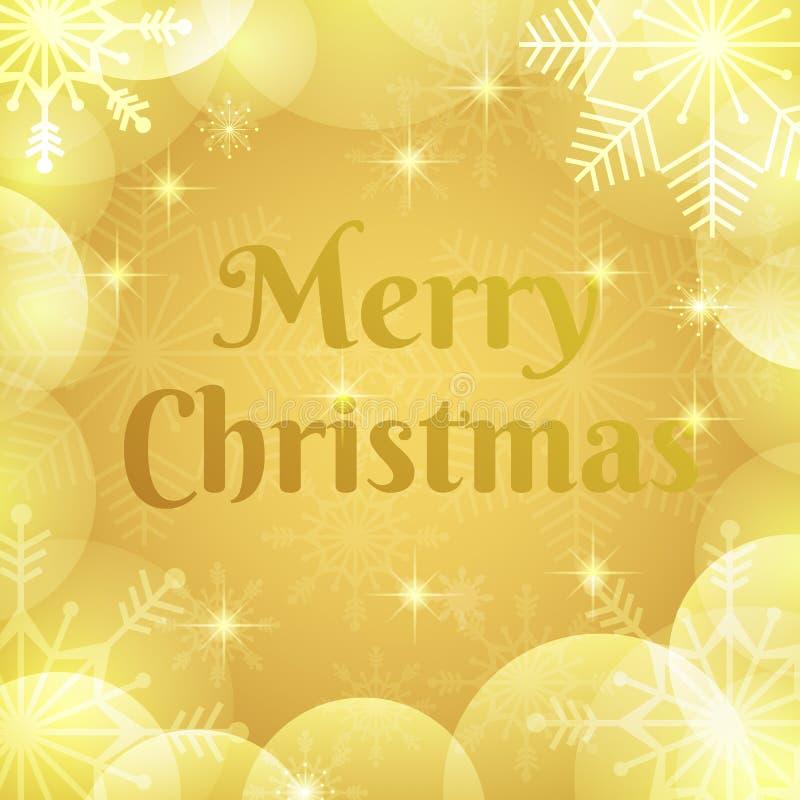 Frohe Weihnacht-Hintergrund Elegante Goldweihnachtsgrußkarte Glückliches Winterurlaubvektordesign mit bokeh, transparente Schneef lizenzfreie abbildung