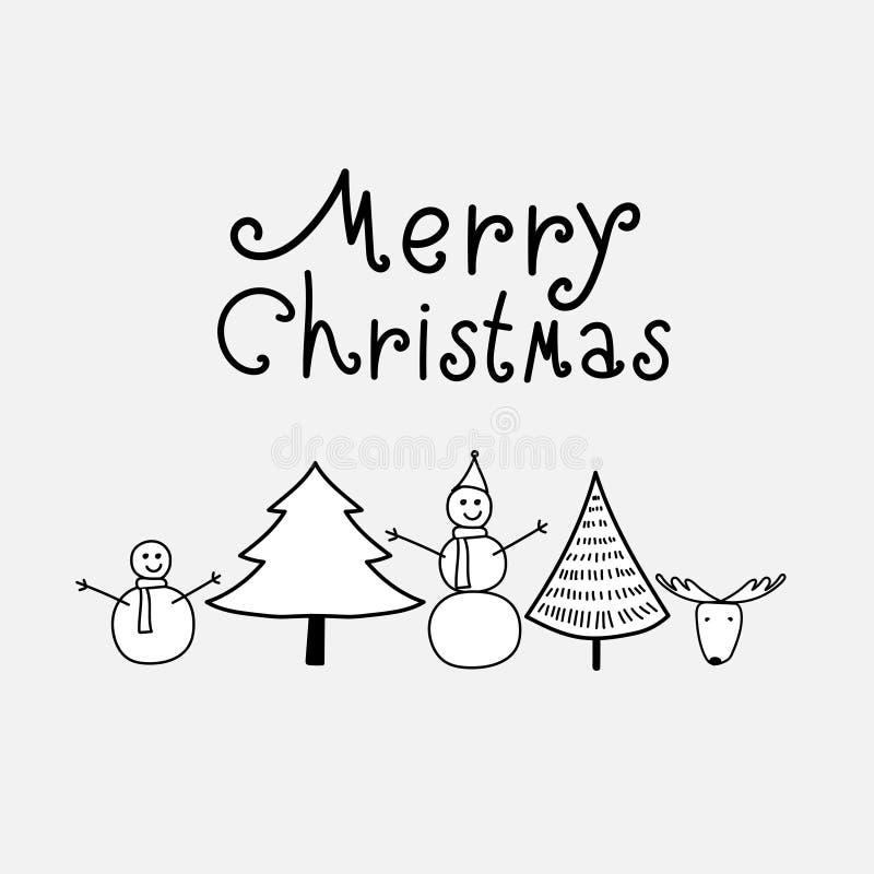Frohe Weihnacht-Hintergrund mit Schwarzweiss-Gebirgs-, Baum-, Schneemann und Rotwild stock abbildung