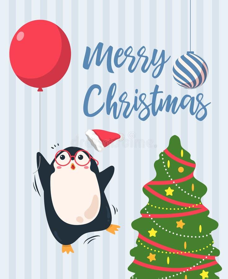 Frohe Weihnacht-Hintergrund Nette Pinguinkarikaturfliege weg mit rotem Ballon Vektorillustrationsbaumweihnachtsgrußkarte Blau vektor abbildung
