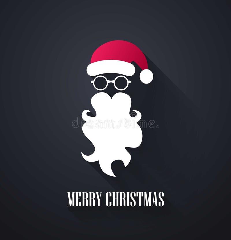 Frohe Weihnacht-Hintergrund Santa Claus-Schnurrbart, -bart und -gläser auf schwarzem Hintergrund Auch im corel abgehobenen Betrag vektor abbildung