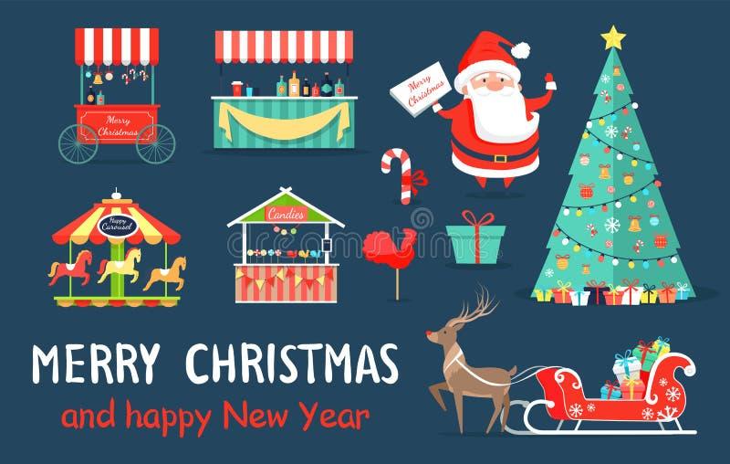 Frohe Weihnacht-Ikonen eingestellt auf Vektor-Illustration stock abbildung