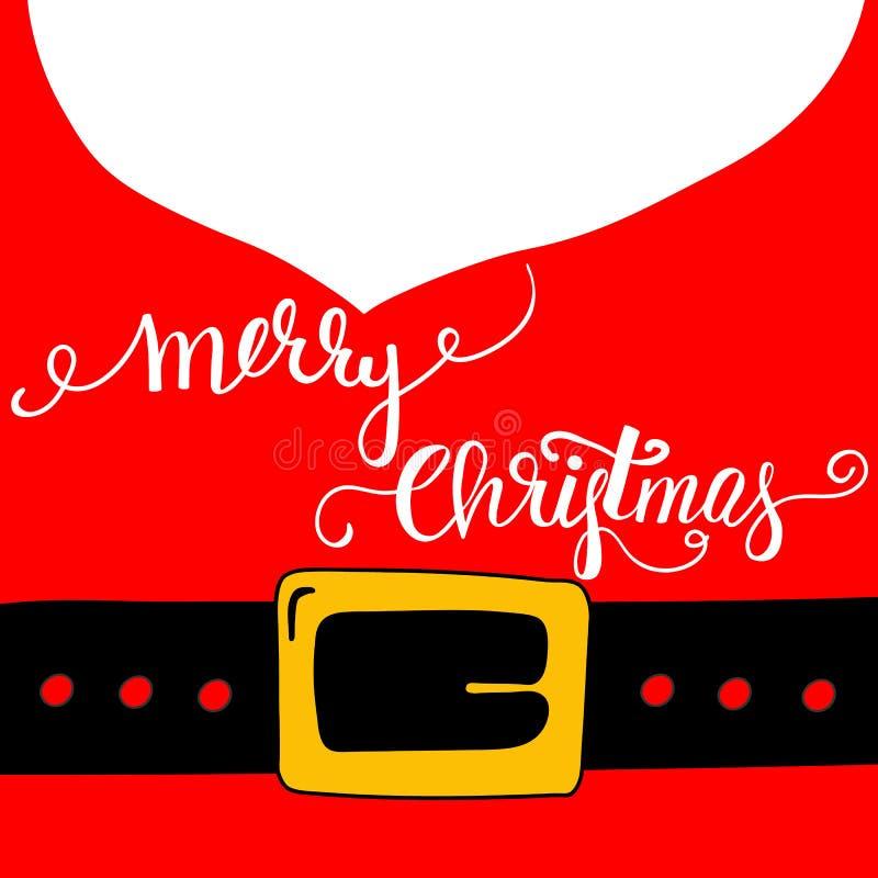 Frohe Weihnacht-kalligraphische Bürsten-Beschriftung auf goldenem Schnallen-Hintergrund Santa Claus Red Outfit Black Belts Weißer vektor abbildung