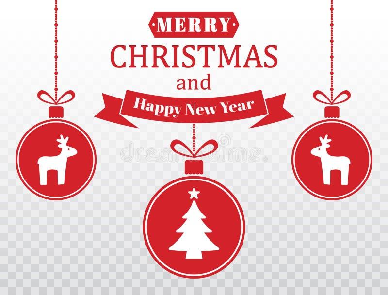 Frohe Weihnacht-Karte Stellen Sie von rotem hängendem Weihnachtsflitter mit Renen, Baum, Schneeflocken ein Jahr von 2007 Glücklic stock abbildung