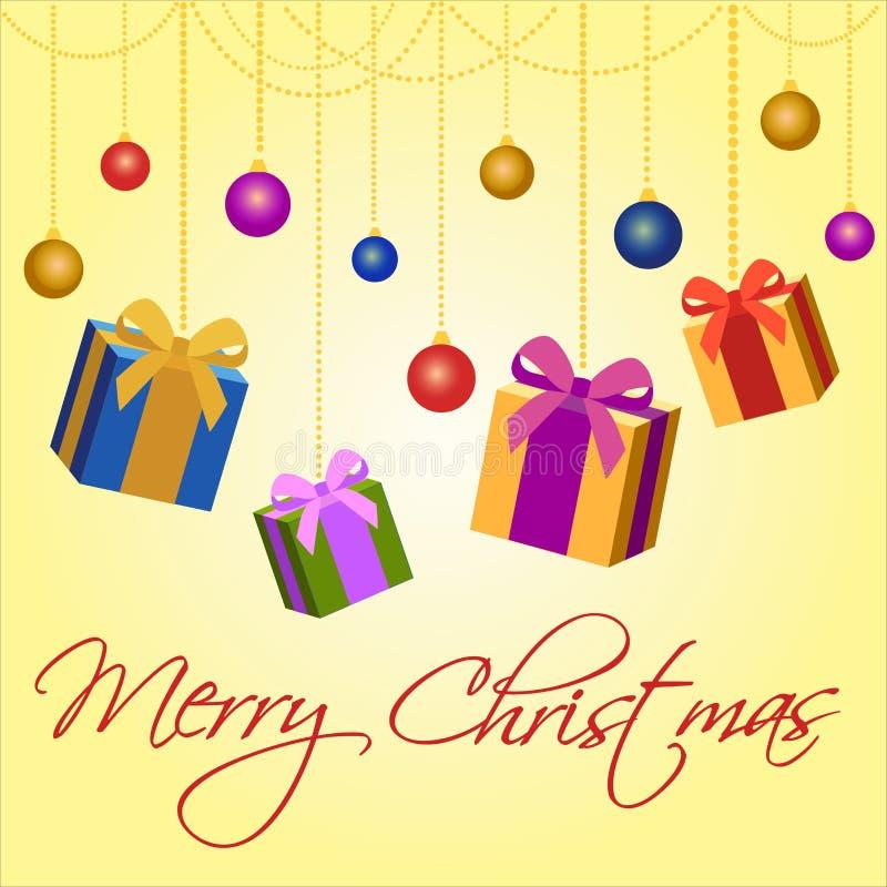 Frohe Weihnacht-Karte Vector Grußkarte mit Weihnachtsgeschenken und Spielwaren stock abbildung
