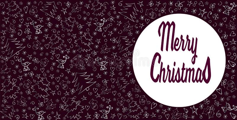 Frohe Weihnacht-Karte Weihnachtsdekoration in silbernem und dunklem Burgunder Hand gezeichnet Vektor vektor abbildung