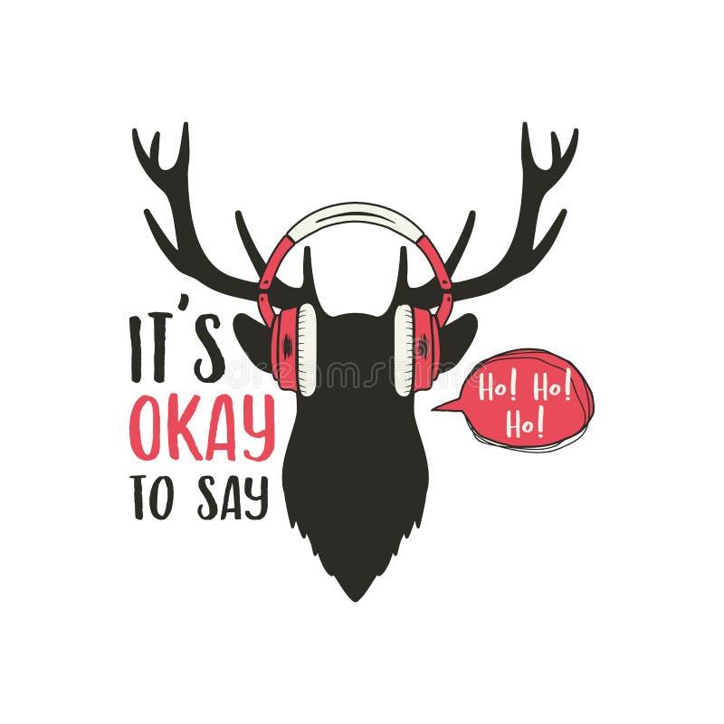 Frohe Weihnacht-Karte Weinlesehandgezogener Rotwildkopf mit Kopfhörern Lustiger Gekritzelgruß überlagert mit Ren Es ist stock abbildung