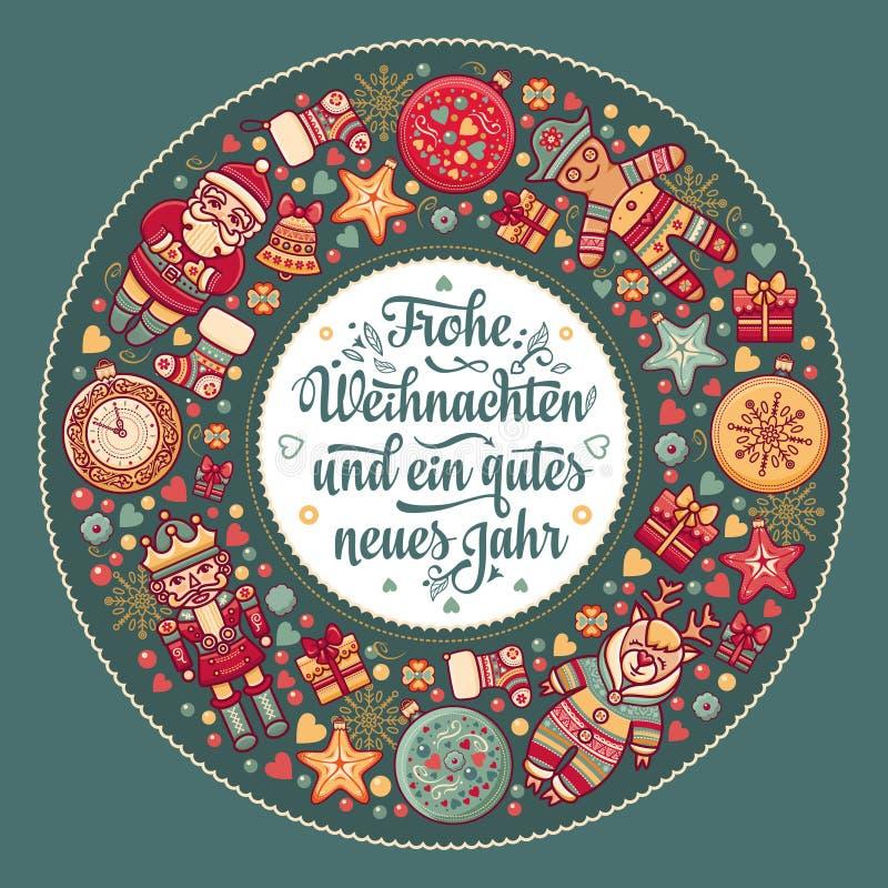 Frohe Weihnacht Kerstmisgelukwensen in Duitsland stock illustratie