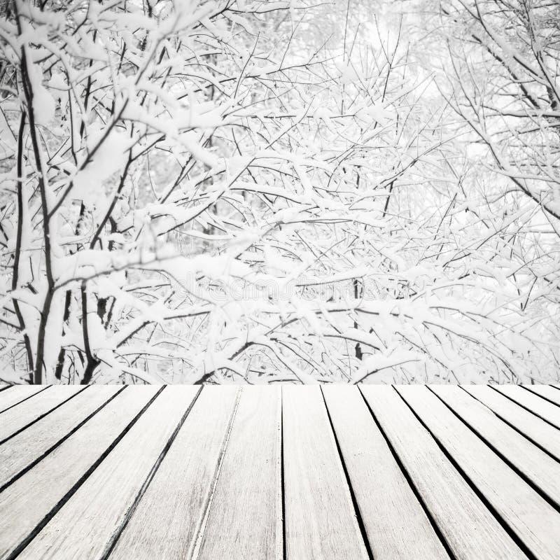 Frohe Weihnacht-Landschaftskarte Winterwald mit hölzernem Brett lizenzfreie stockfotografie