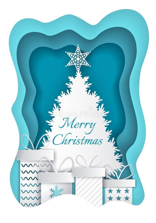 Frohe Weihnacht-Papier-Tannenbaum-und Geschenk-Vektor vektor abbildung