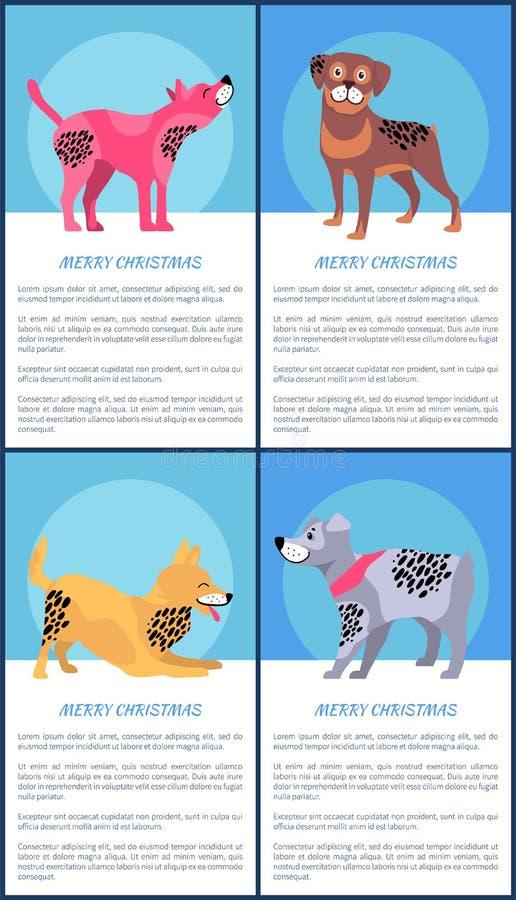 Frohe Weihnacht-Poster eingestellt mit spielerischen Hunden lizenzfreie abbildung