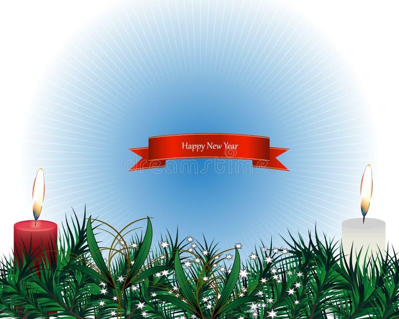 Frohe Weihnacht-realistische glänzende Kerzen, brennendes Feuer, helle Girlanden und Tannen-Baumaste auf blauem Hintergrund Vekto stock abbildung