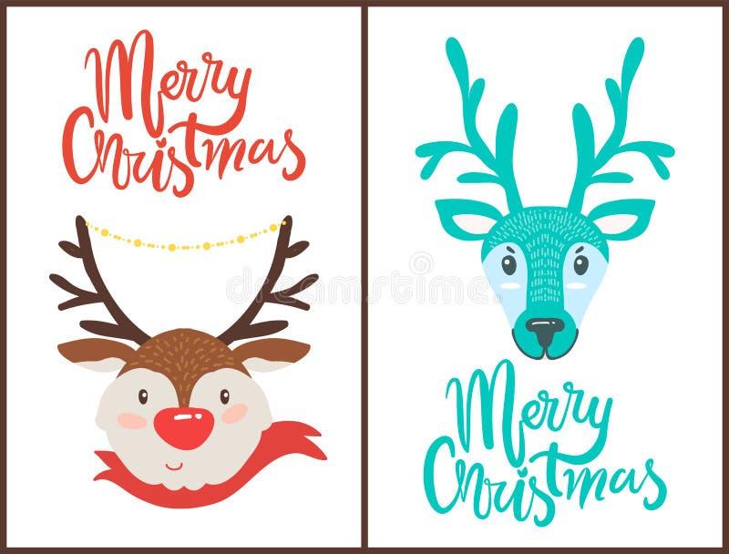 Frohe Weihnacht-Ren-Vektor-Illustration vektor abbildung