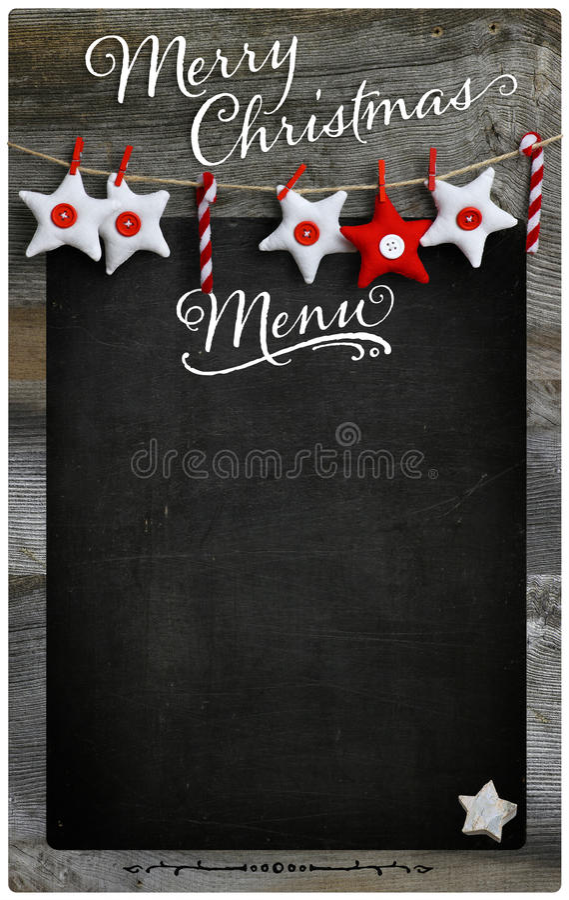 Frohe Weihnacht-Restaurant-Menü-hölzerner Tafel-Kopien-Raum stockfoto