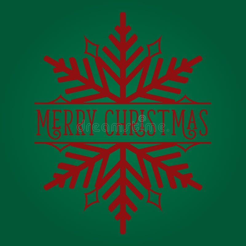 Frohe Weihnacht-Schneeflocken-Rot auf Grün stockfoto