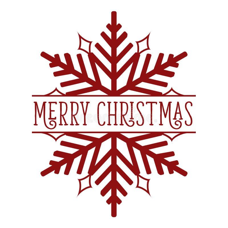 Frohe Weihnacht-Schneeflocken-Rot auf Weiß stockbild