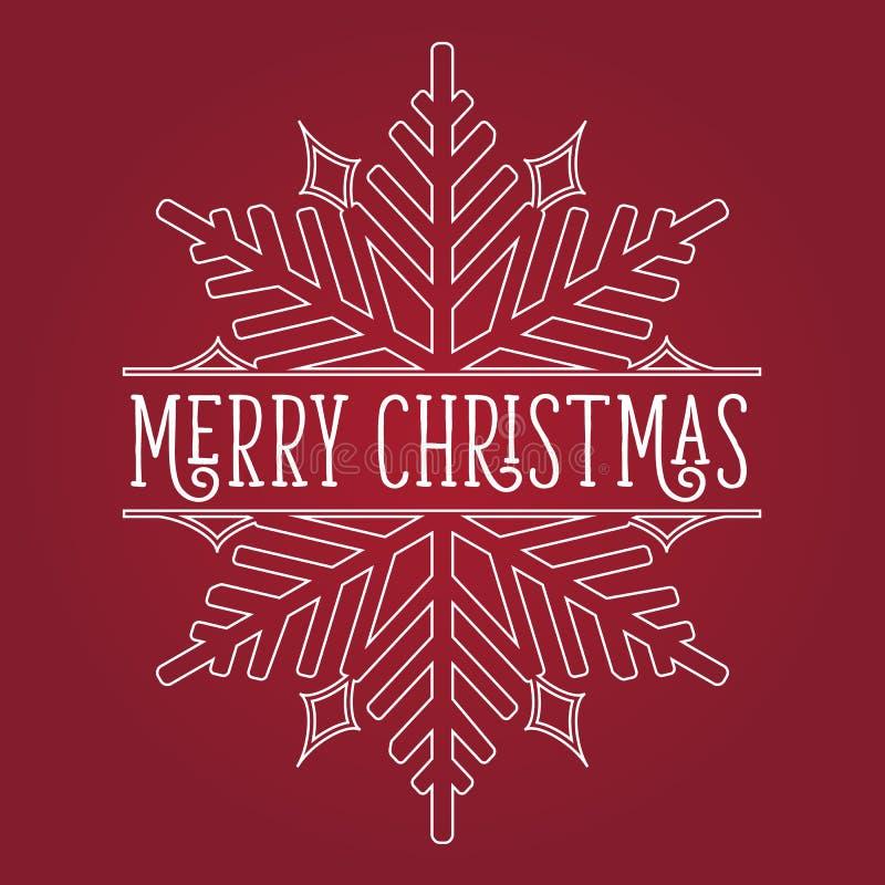 Frohe Weihnacht-Schneeflocken-Weiß auf Rot stockbilder