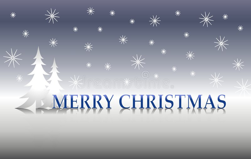Frohe Weihnacht-silberne Bäume 2 stock abbildung