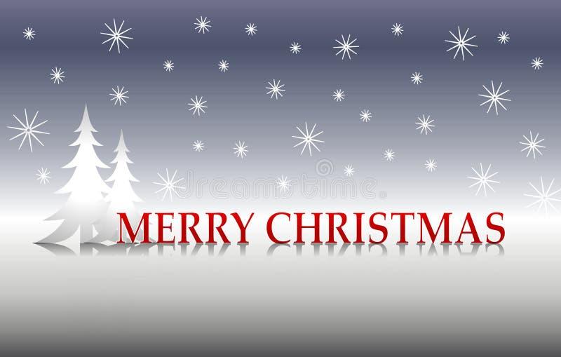 Frohe Weihnacht-silberne Bäume vektor abbildung