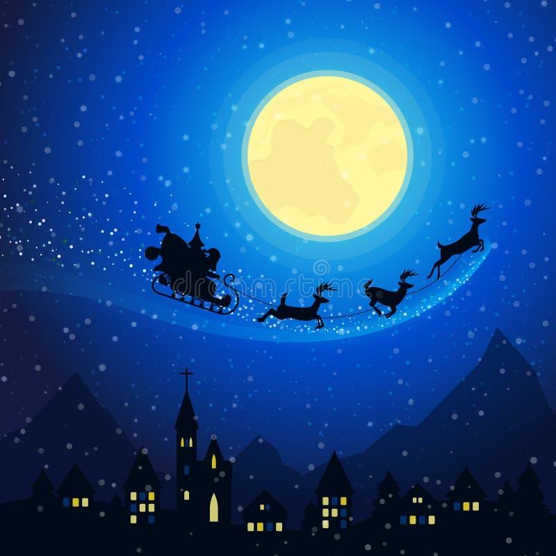 Frohe Weihnacht-Stadtberglandschaft mit Santa Claus Sleigh mit den Renen, die auf den Mondschein-Himmel fliegen vektor abbildung