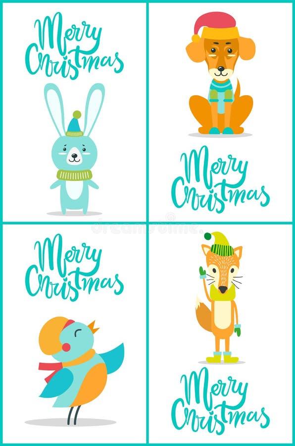 Frohe Weihnacht-Tiere auf Vektor-Illustration vektor abbildung
