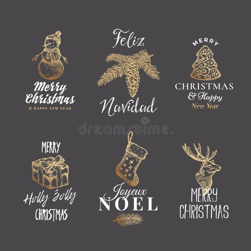 Frohe Weihnacht-und guten Rutsch ins Neue Jahr-abstrakte Vektor-Zeichen, Aufkleber oder Logo Templates Set Hand gezeichnetes Ren, vektor abbildung
