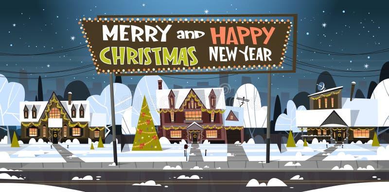 Frohe Weihnacht-und guten Rutsch ins Neue Jahr-Gruß-Karte mit grünem Feiertags-Baum nahe Snowy-Haus stock abbildung
