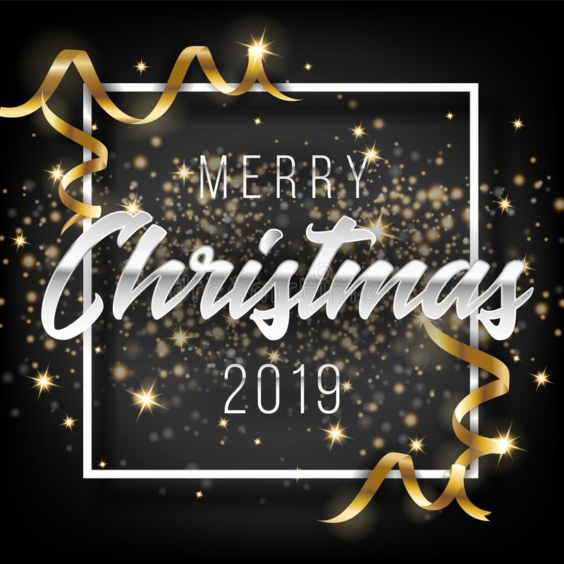 Frohe Weihnacht-und guten Rutsch ins Neue Jahr-Gruß-Karten-Hintergrund 2019 lizenzfreie abbildung