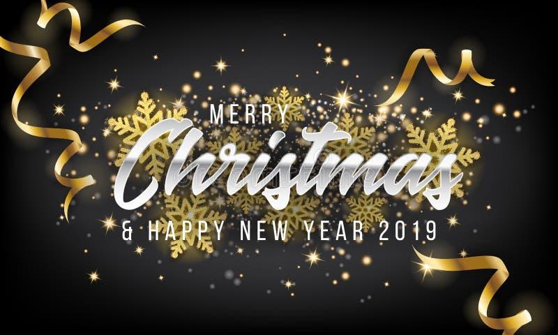Frohe Weihnacht-und guten Rutsch ins Neue Jahr-Gruß-Karten-Hintergrund 2019 stock abbildung