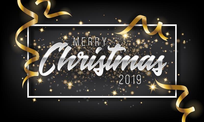 Frohe Weihnacht-und guten Rutsch ins Neue Jahr-Gruß-Karten-Hintergrund 2019 vektor abbildung