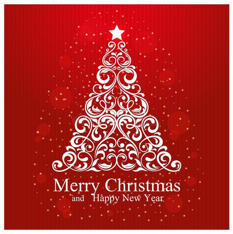 Frohe Weihnacht-und guten Rutsch ins Neue Jahr-Karte mit schönem Blumenweihnachtsbaum vektor abbildung