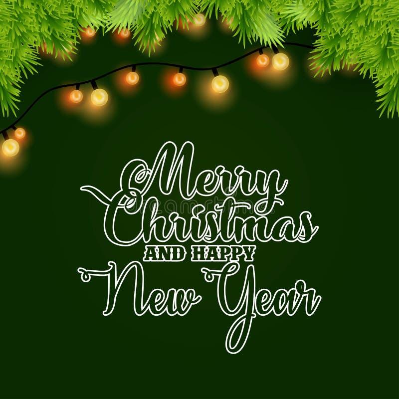 Frohe Weihnacht-und guten Rutsch ins Neue Jahr-Licht und Bokeh-Hintergrund stock abbildung