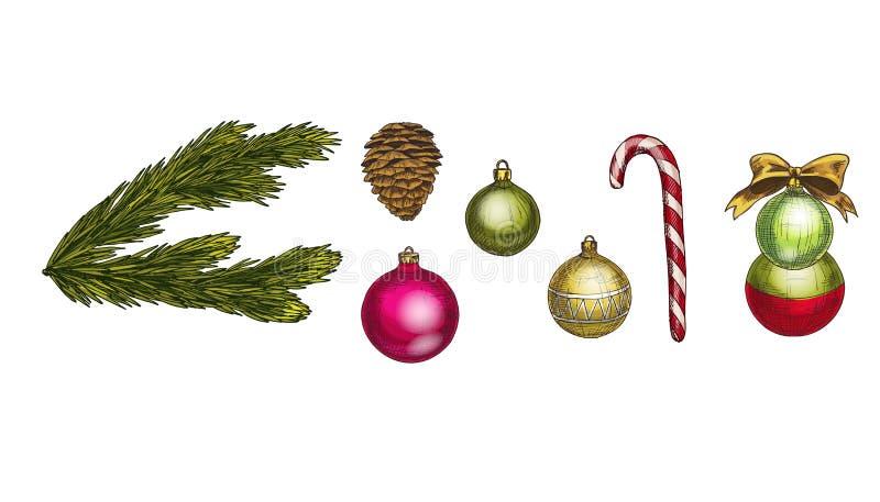 Frohe Weihnacht-und guten Rutsch ins Neue Jahr-Vektor-Satz Kegel, Tannenzweig, Bogen, candycane und Glaskugeln lokalisiert auf we lizenzfreie abbildung