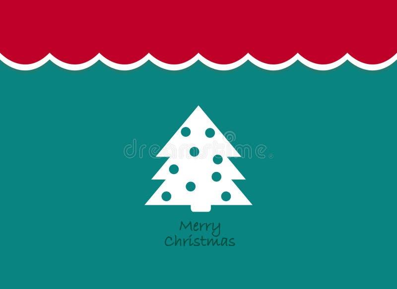 Frohe Weihnacht-Weinlesehintergrund mit Baum Retro- flaches Design stock abbildung