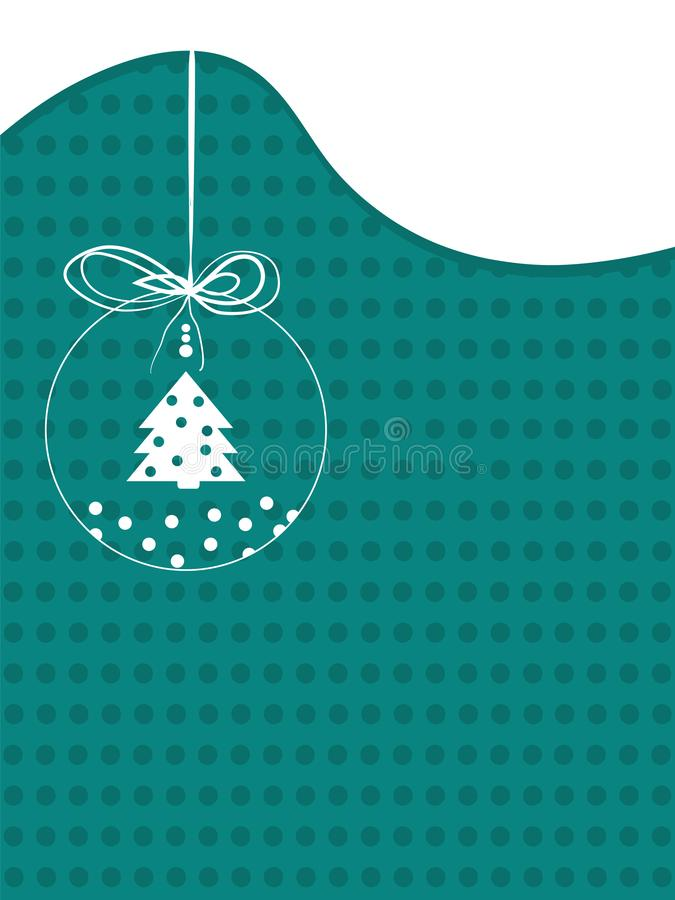 Frohe Weihnacht-Weinlesehintergrund mit Weihnachtsball Retro- flaches Design stock abbildung