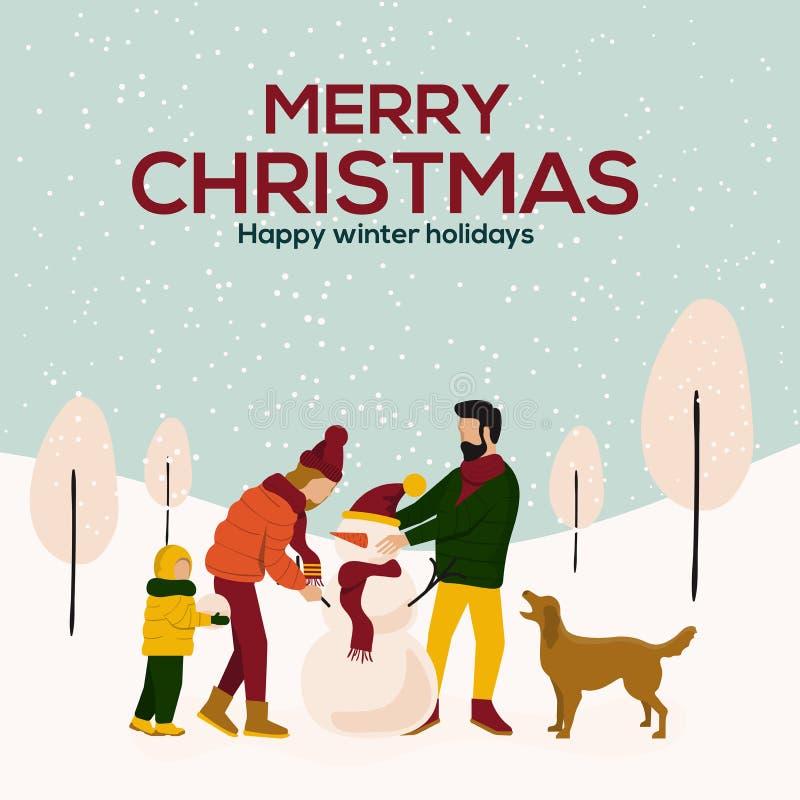 Frohe Weihnacht-Winterillustration vektor abbildung