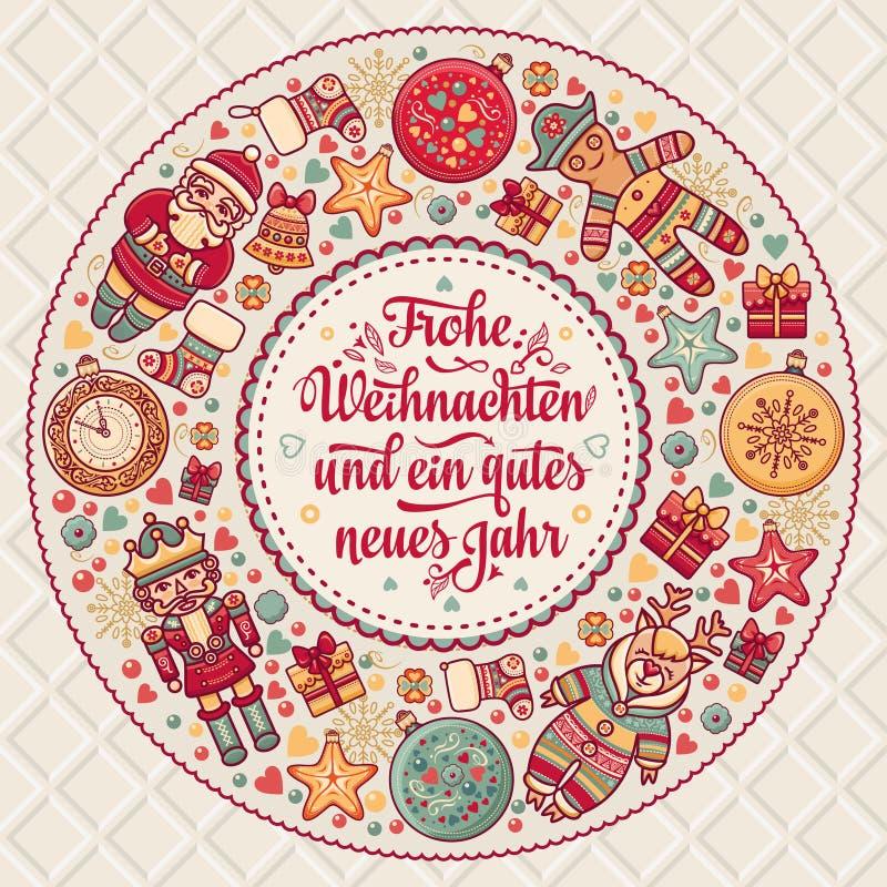 Frohe Weihnacht. Xmas Congratulations in Germany. Frohe Weihnacht. Xmas Congratulations in German language. Christmas in Belgium, Austria, Liechtenstein royalty free illustration
