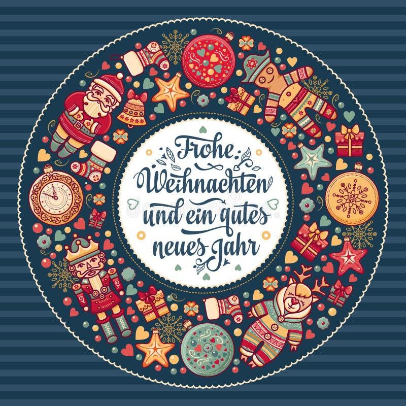 Frohe Weihnacht Xmas-lyckönskan i Tyskland vektor illustrationer