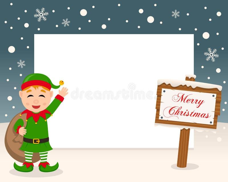 Frohe Weihnacht-Zeichen-Rahmen u. grüne Elfe lizenzfreie abbildung
