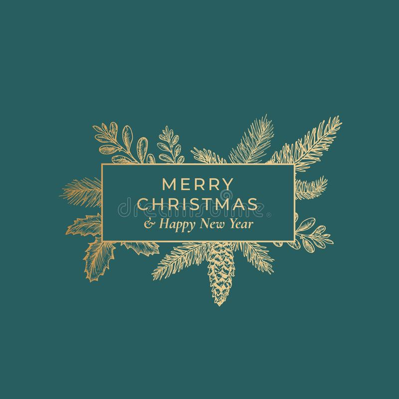 Frohe Weihnacht-Zusammenfassungs-botanische Karte mit Rechteck-Rahmen-Fahne und moderner Typografie Erstklassiger grüner Hintergr lizenzfreie abbildung