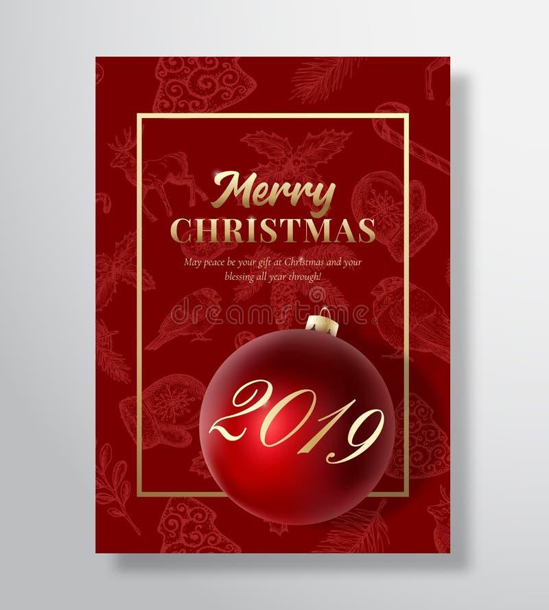 Frohe Weihnacht-Zusammenfassungs-Vektor-Gruß-Karte, Plakat oder Feiertags-Hintergrund Noble Rot-und Goldfarben, Funkeln und lizenzfreie abbildung