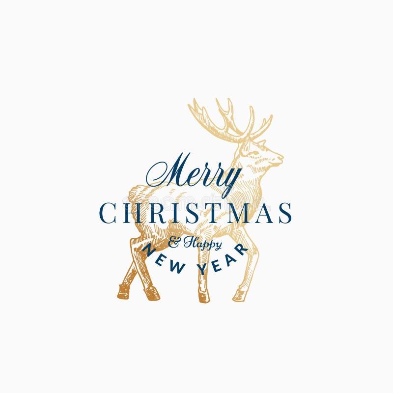Frohe Weihnacht-Zusammenfassungs-Vektor-Retro- Aufkleber, Zeichen oder Karten-Schablone Hand gezeichnete goldene Ren-oder Rotwild vektor abbildung
