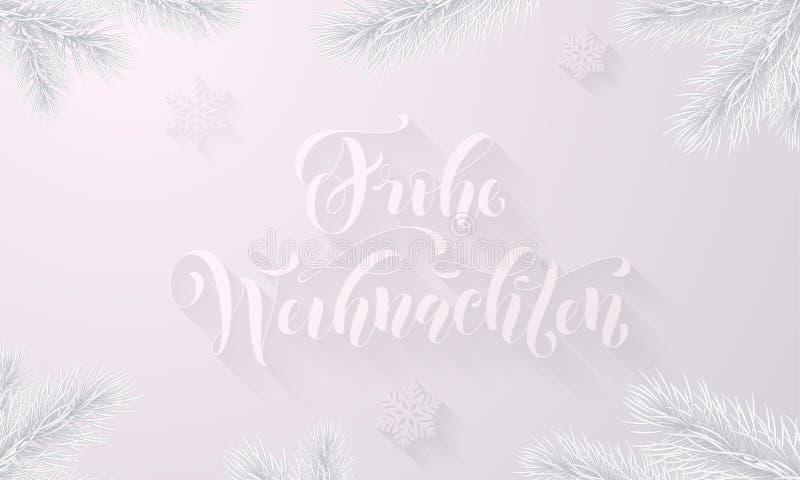 Frohe Weihnachten德国人圣诞快乐霜冰冷的字体和白色雪背景与冻冰雪花在寒假gre 皇族释放例证