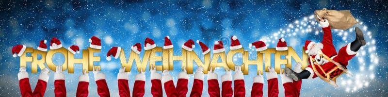 Frohe weihnachten с Рождеством Христовым шальной смешной Санта Клаус на sl иллюстрация штока