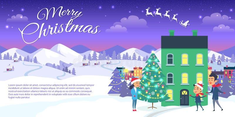 Frohe Weihnachten auf Stadt-und blauer Himmel-Hintergrund lizenzfreie abbildung