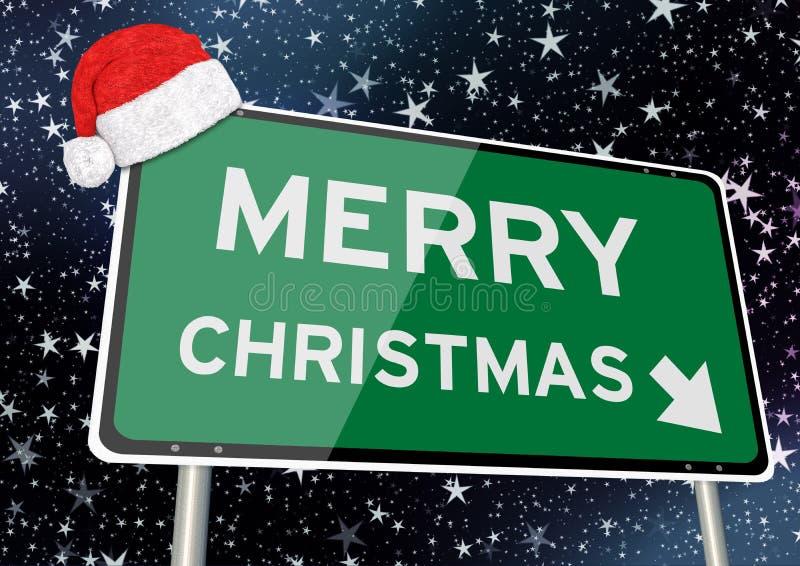 frohe Weihnachten auf Wegweiser oder Anschlagtafel gegen sternenklaren Himmel nachts Weihnachts- oder Weihnachts Fig?rchen, die a stock abbildung