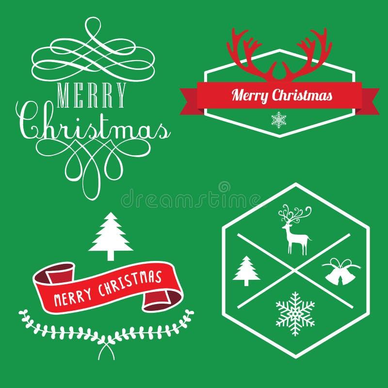 Frohe Weihnachten Aufkleber, Fahne Tags und Elemente lizenzfreie stockfotos